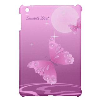 Mini caso del iPad púrpura de la mariposa