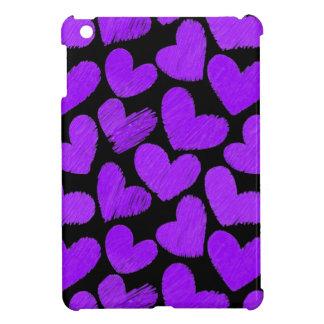 Mini caso del iPad púrpura y negro de los corazone