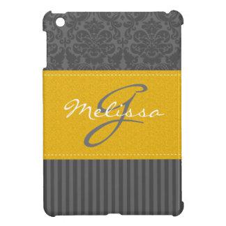 Mini caso del iPad rayado amarillo, gris, blanco d