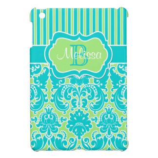 Mini caso del iPad rayado azul, verde, blanco del