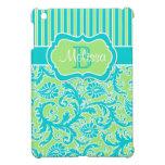 Mini caso del iPad rayado azul, verde, blanco del  iPad Mini Cobertura