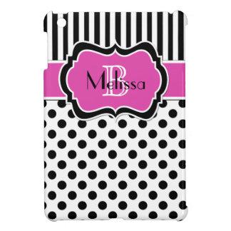 Mini caso del iPad rayado blanco negro rosado del