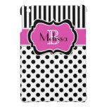 Mini caso del iPad rayado blanco negro rosado del  iPad Mini Funda