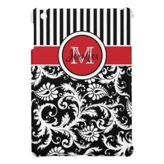 Mini caso del iPad rayado rojo, negro, blanco del
