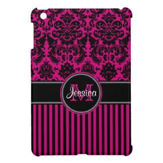Mini caso del iPad rayado rosado, negro, blanco de