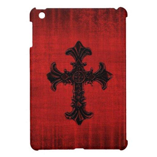 Mini caso del iPad rojo con la cruz gótica iPad Mini Carcasas