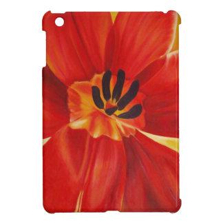 Mini caso del iPad rojo del tulipán