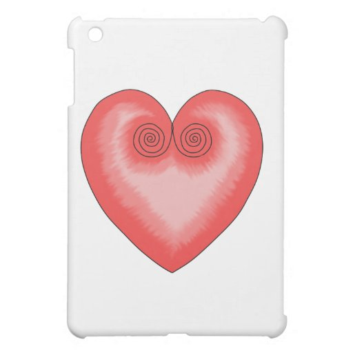 Mini caso del iPad rosado artístico del corazón/de