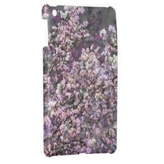 Mini caso del iPad rosado blanco de las flores de