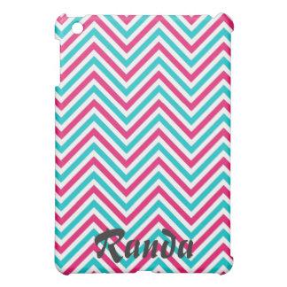 Mini caso del iPad rosado y azul de Chevron iPad Mini Carcasa