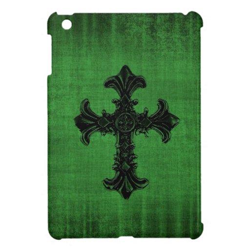 Mini caso del iPad verde con la cruz gótica iPad Mini Funda