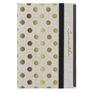 Mini caso del oro de los puntos del iPad de lino e iPad Mini Funda