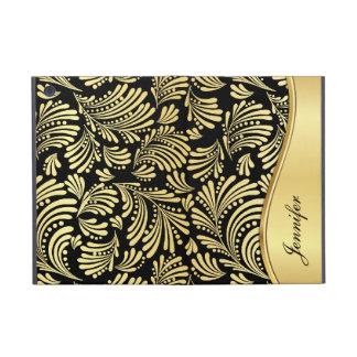 Mini caso del oro del negro del iPad floral del fo iPad Mini Fundas