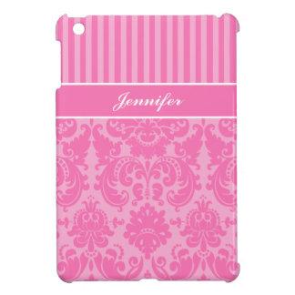 Mini caso del rosa y blanco del damasco del iPad r iPad Mini Carcasa