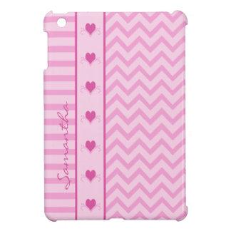 Mini caso del zigzag del iPad rosado de las rayas