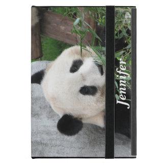 mini caso en folio del iPad, panda, negra iPad Mini Funda