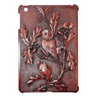 mini caso tallado del ipad de madera del búho