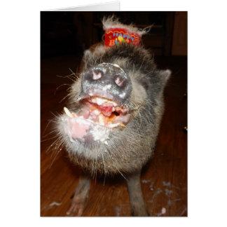 Mini cerdo personalizado del feliz cumpleaños tarjeta de felicitación