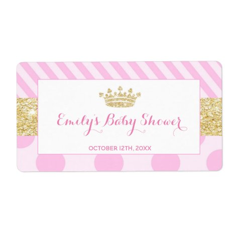 Mini champagne bottle label princess baby shower