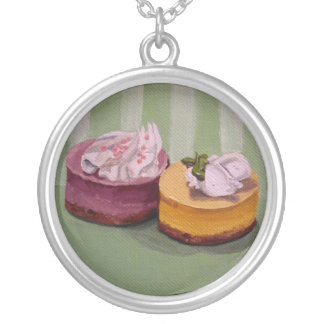 Mini Cheesecakes Pin Round Pendant Necklace