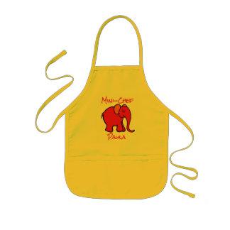 Mini-Chef's Custom Name Red Cartoon Elephant Kids' Apron