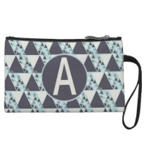 Mini Clutch Bag Blue Geometric Pattern
