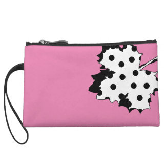 Mini Clutch with stylish leafs in polka dot