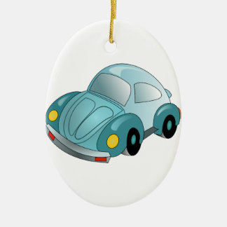 Mini coche adorno navideño ovalado de cerámica