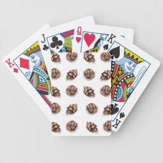Mini conos del pino en blanco cartas de juego
