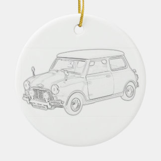 Mini Cooper Double-Sided Ceramic Round Christmas Ornament