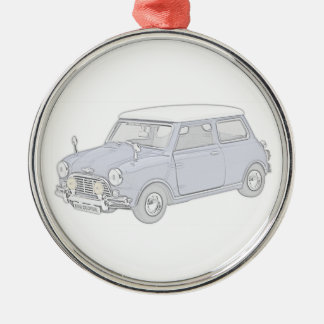 Mini Cooper Vintage-colored Round Metal Christmas Ornament