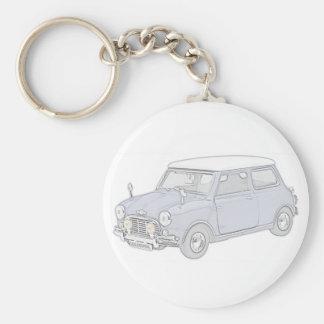 Mini Cooper Vintage-coloreó Llavero Redondo Tipo Pin
