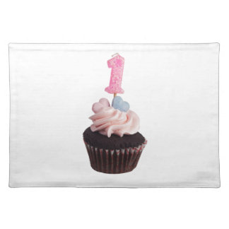 Mini cupcake with birthday candle for one year old placemat