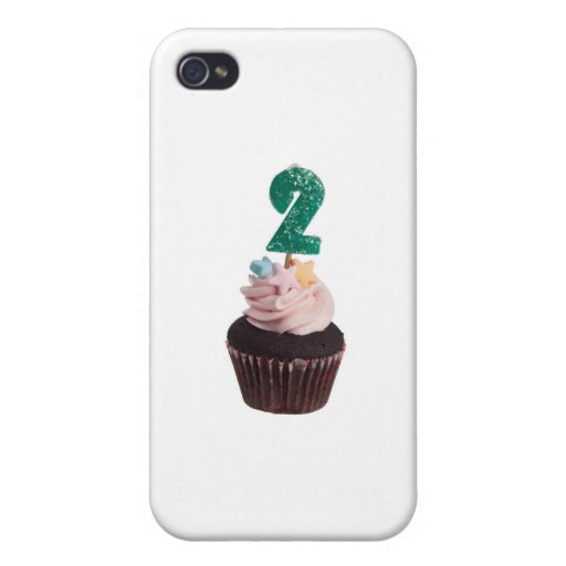 Mini cupcake with birthday candle for two year old iPhone 4/4S cases