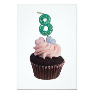 Mini cupcake with candle for eight year old card