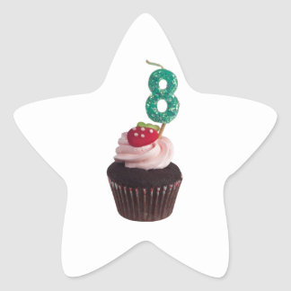 Mini cupcake with number 8 birthday candle stickers