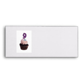 Mini cupcake with number nine candle envelope