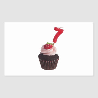 Mini cupcake with number seven candle rectangular sticker