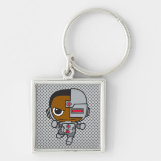 Mini Cyborg Llavero Cuadrado Plateado