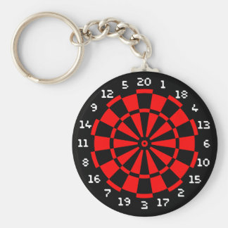 Mini Dartboard Basic Round Button Keychain
