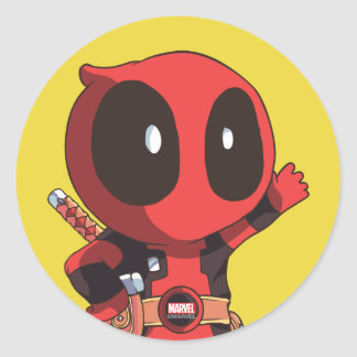 Mini Deadpool Classic Round Sticker
