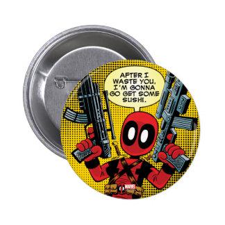 Mini Deadpool With Guns Button