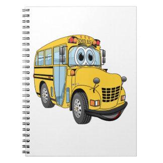 Mini dibujo animado del autobús escolar note book