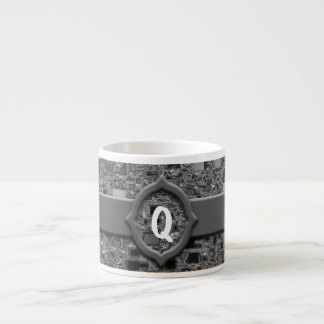 Mini diseño y monograma de la caja del falso cromo tazita espresso