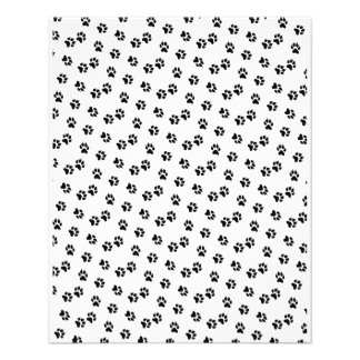 Mini Doublesided paper Black and white pawprints Custom Flyer