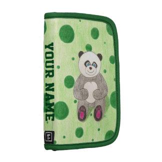 Mini en folio personalizada verde de la panda planificador