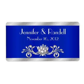 Mini etiqueta azul y de plata de encargo de la bot etiquetas de envío