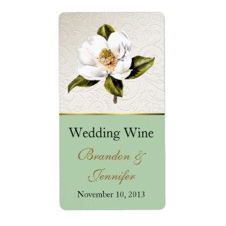 Mini etiquetas del vino de la magnolia de marfil y etiquetas de envío