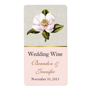 Mini etiquetas del vino de la magnolia rosada etiqueta de envío