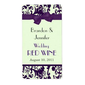 Mini etiquetas del vino del boda púrpura y verde etiqueta de envío